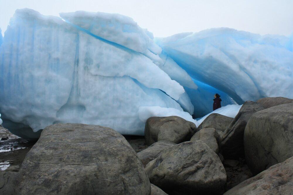 Looking up to huge icebergs near Iqaluit, Nunavut