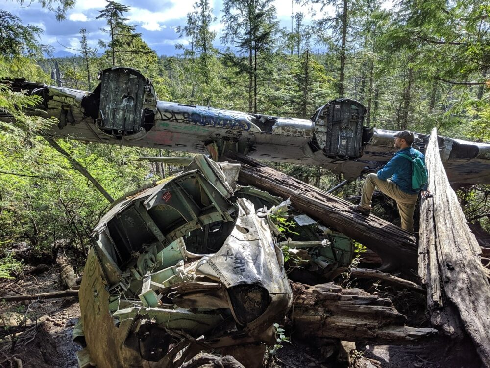 JR looking out on the crashed Canso bomber plane - the body is still surprisingly intact for being over 70 years old