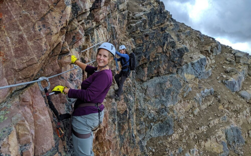 Climbing the Via Ferrata at Kicking Horse Mountain Resort, British Columbia