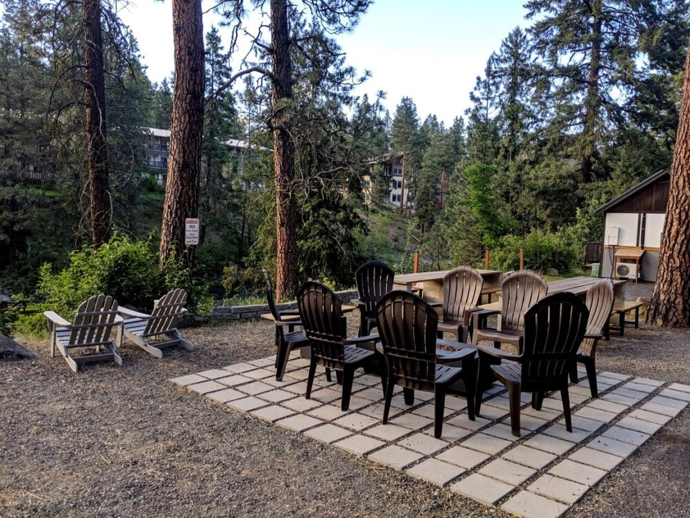 Sitting area and firepit at LOGE, one of the best places to stay in Leavenworth