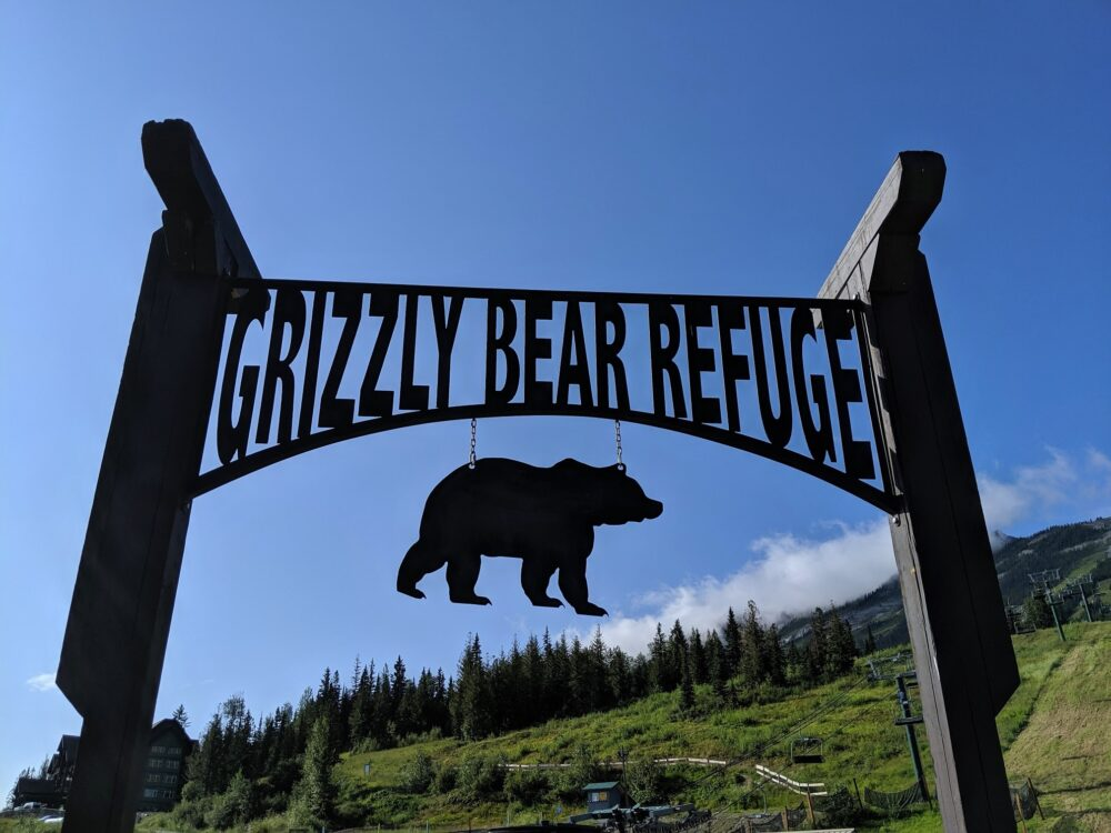 Grizzly Bear Refuge metal sign at Kicking Horse Mountain Resort