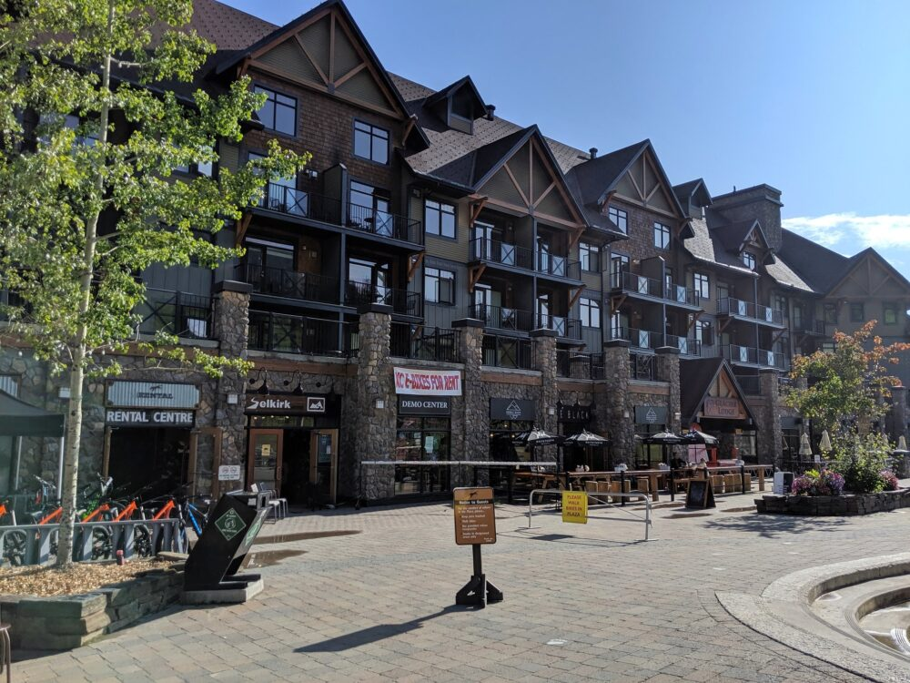 Main Kicking Horse Mountain Resort building, with cafe, shops and accommodation