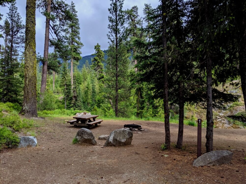 Picnic bench and firepit at Rock Island Campground, Leavenworth