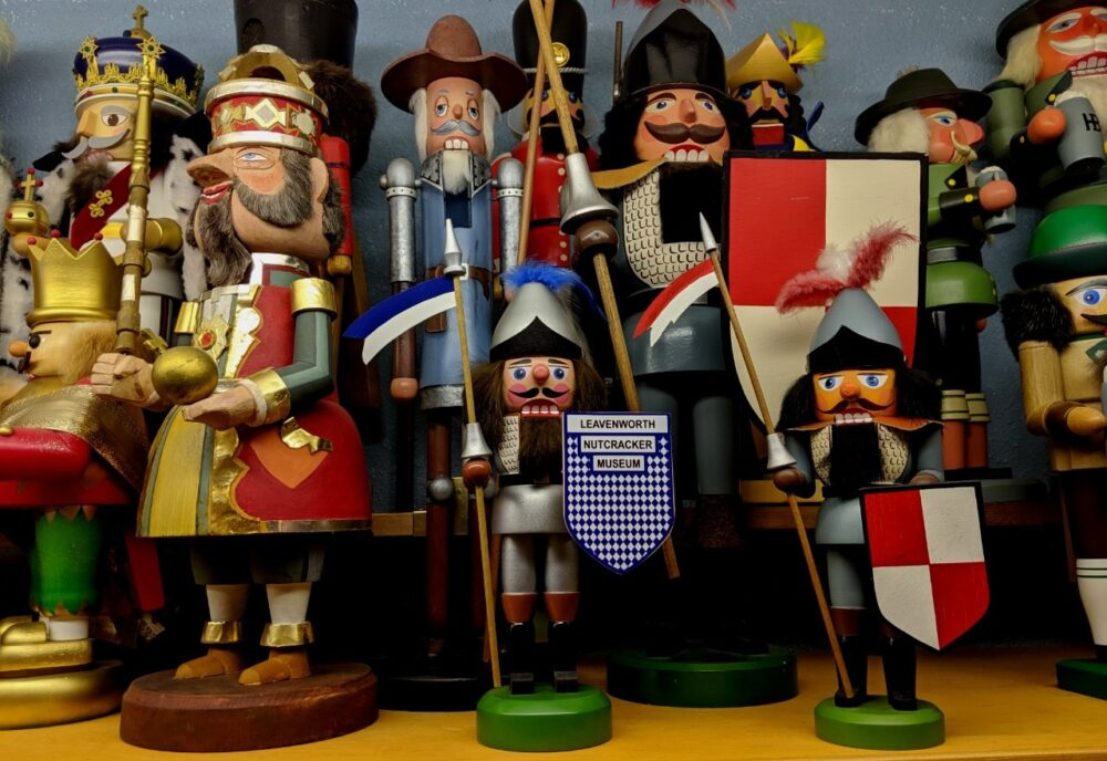 Traditional carved Nutcracker figures at the Nutcracker Museum in Leavenworth, Washington