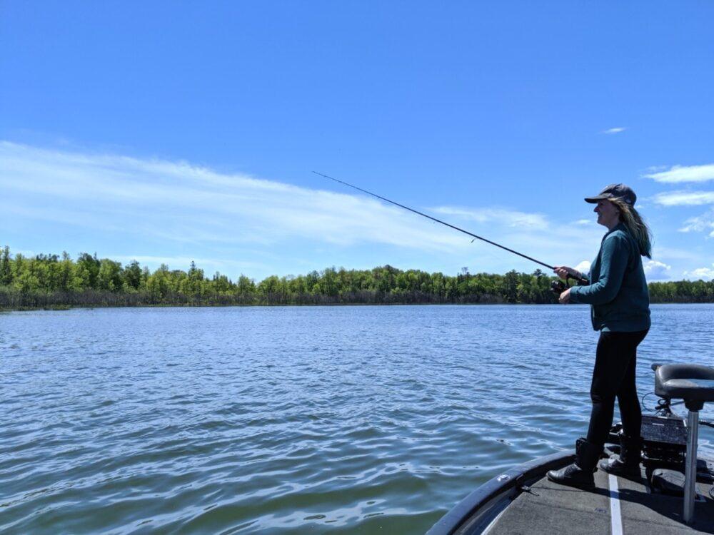 Lindsay fishing on Lake Huron, from Angling Algoma fishing boat