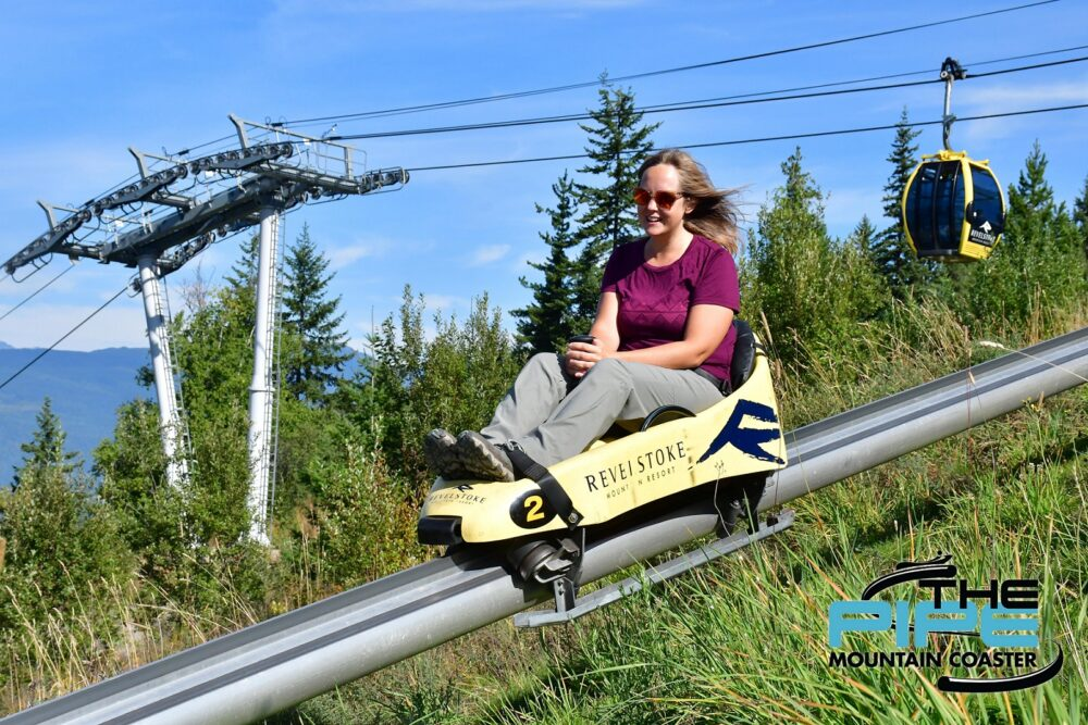 Gemma riding downhill on the Revelstoke Mountain coaster