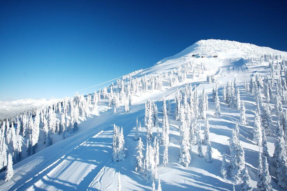 Snow covered slopes at Revelstoke Mountain Resort