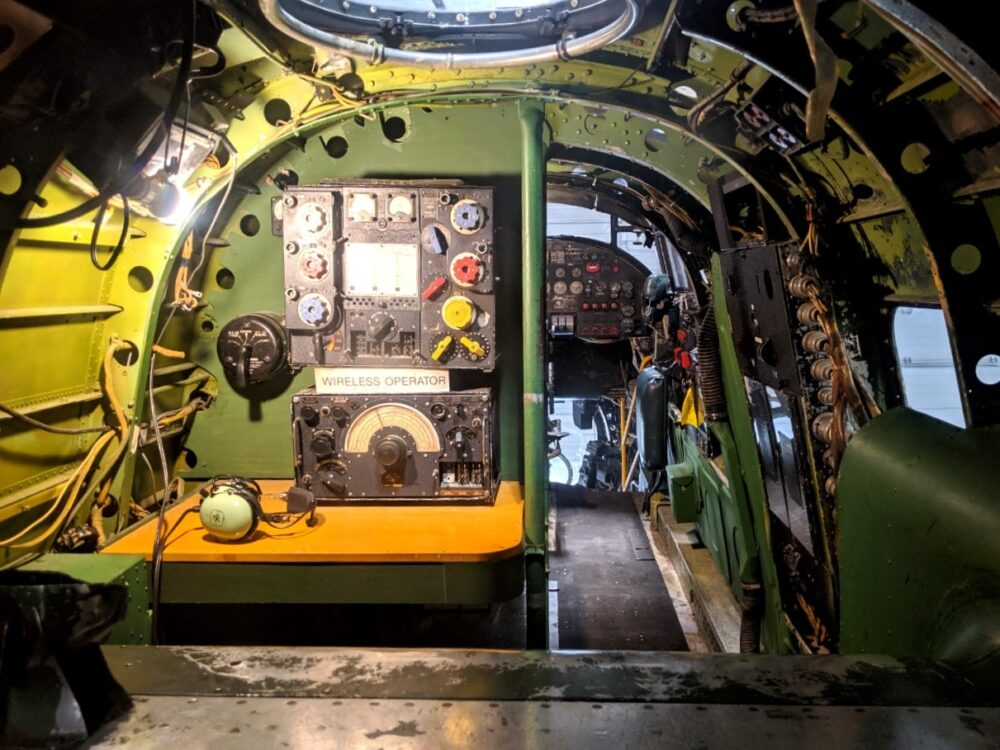 View of electronics and machinery inside the Lancaster Bomber