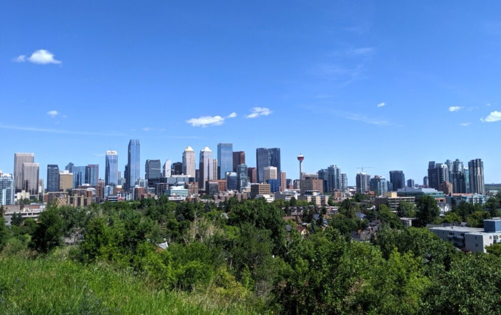 Calgary city skyline with Calgary Tower and high rise buildings