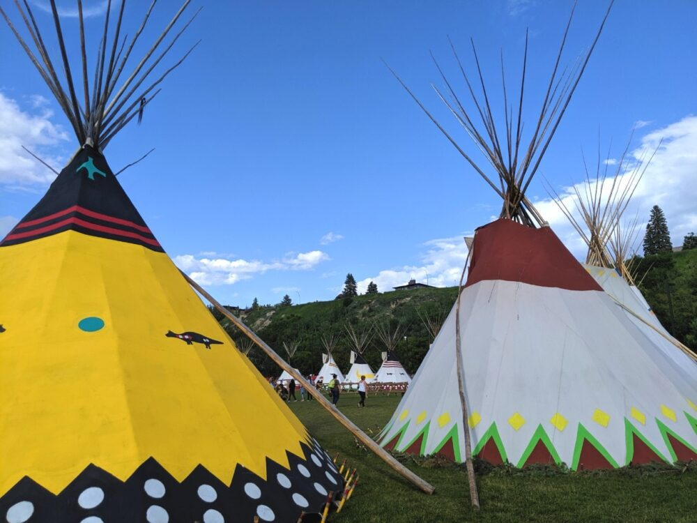 Colourful teepees at Elbow River Camp at the Calgary Stampede