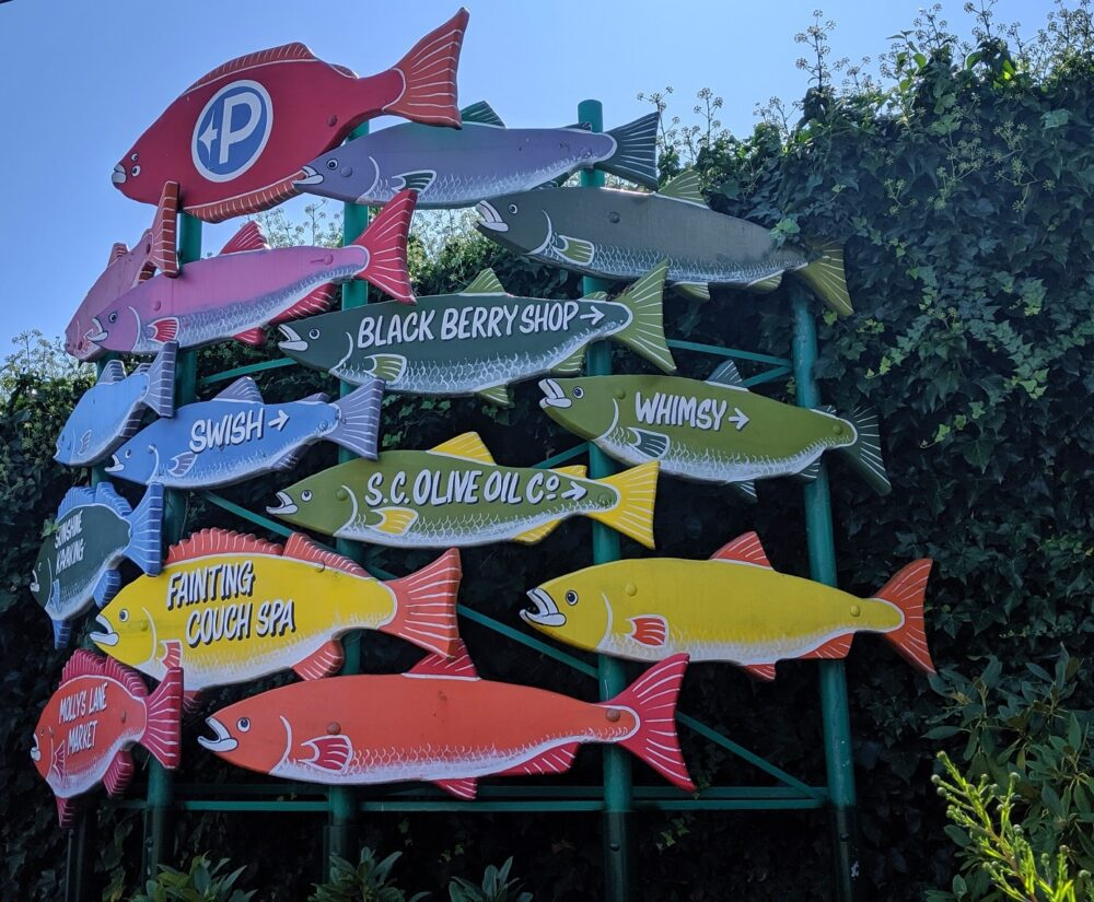 Colourful fish signposts in Gibsons on the Sunshine Coast