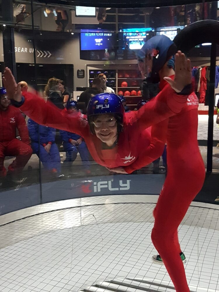 Leigh flying in the iFly wind tunnel in Calgary