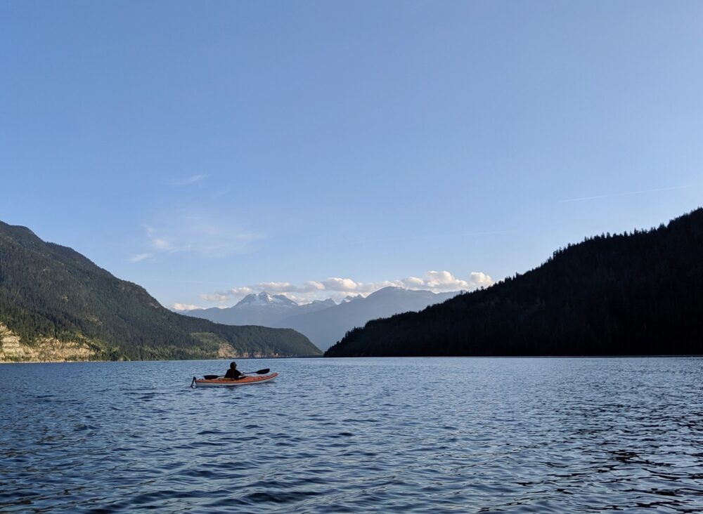 Kayaking on Lake Revelstoke is one must do Revelstoke activities