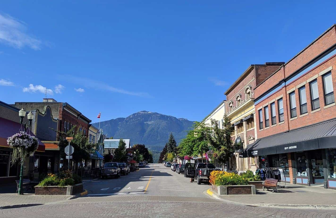 View of downtown Revelstoke with heritage style buildings
