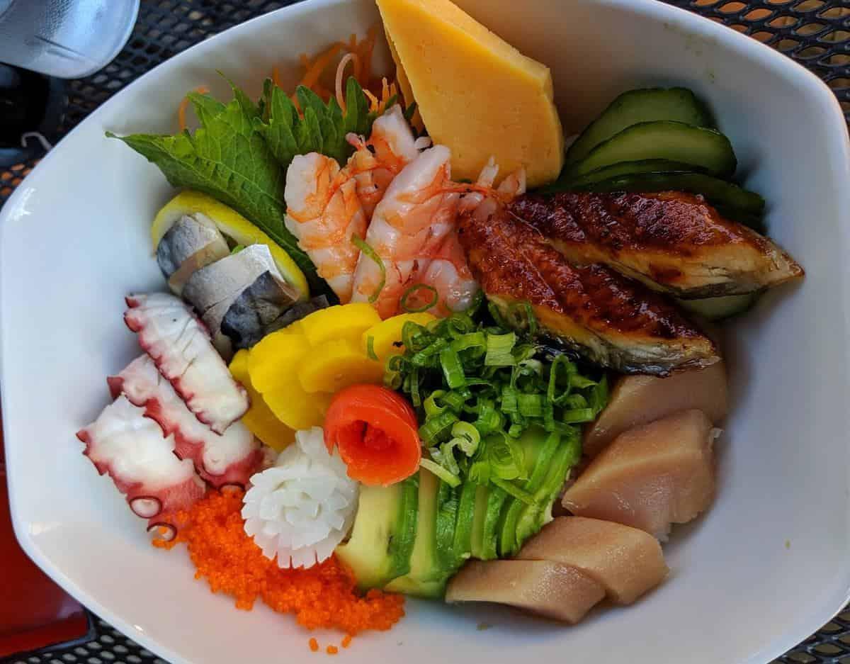 Bowl of fresh sashimi at Kawakubo Revelstoke