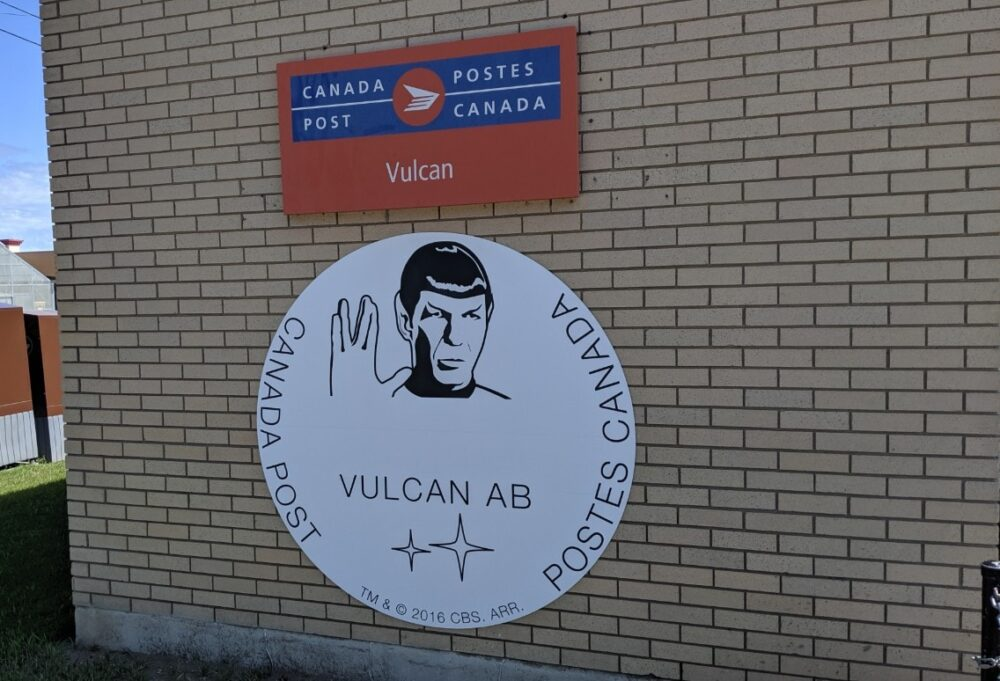 Canada Post with Vulcan sign outside, featuring Spock from Star Trek