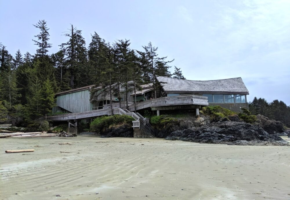 A wooden building on sandy beach in Pacific Rim National Park