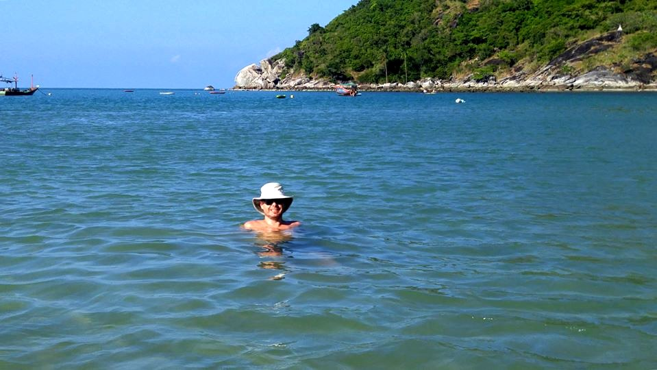 JR swimming in ocean off coast of Koh Phangan, Thailand