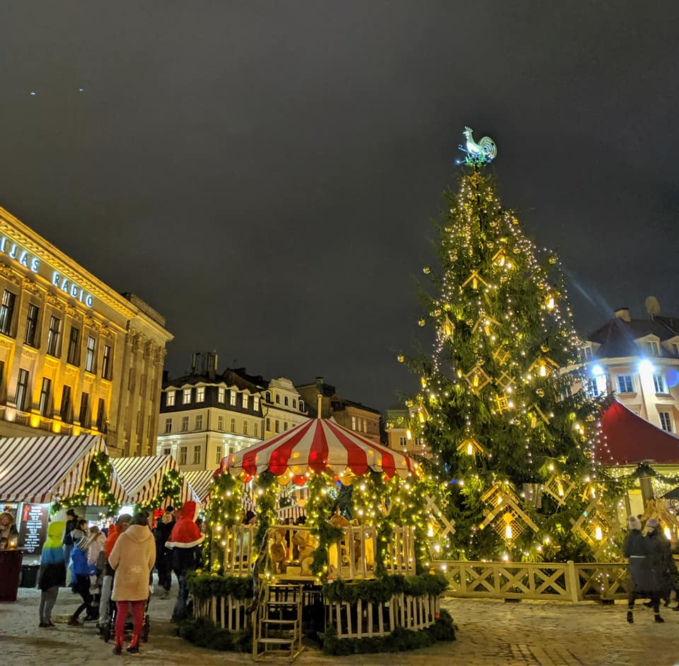 Festive Christmas Market with carousel and Christmas tree