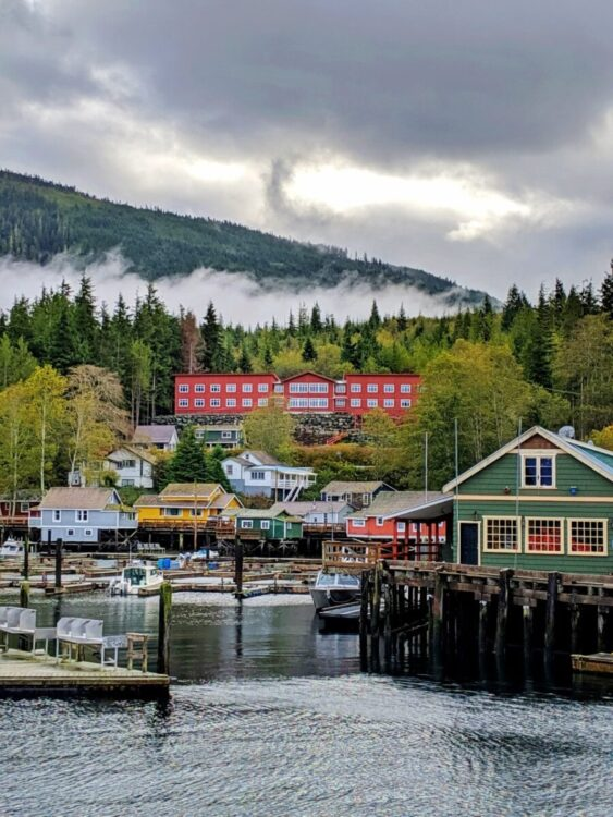 The colorful buildings and boardwalk of Telegraph Cove, Vancouver Island