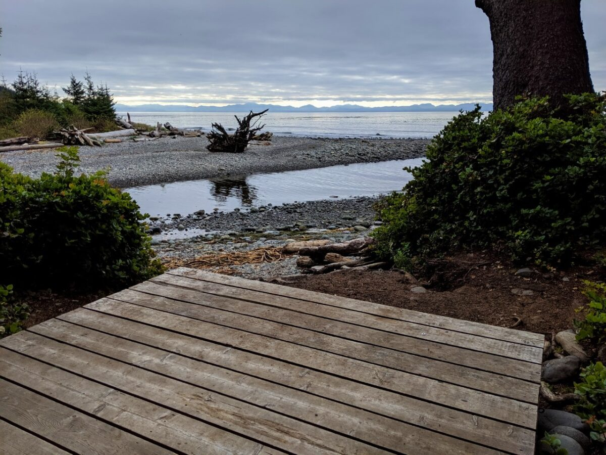 A wooden tent pad looks out over ocean views in Juan de Fuca Provincial Park