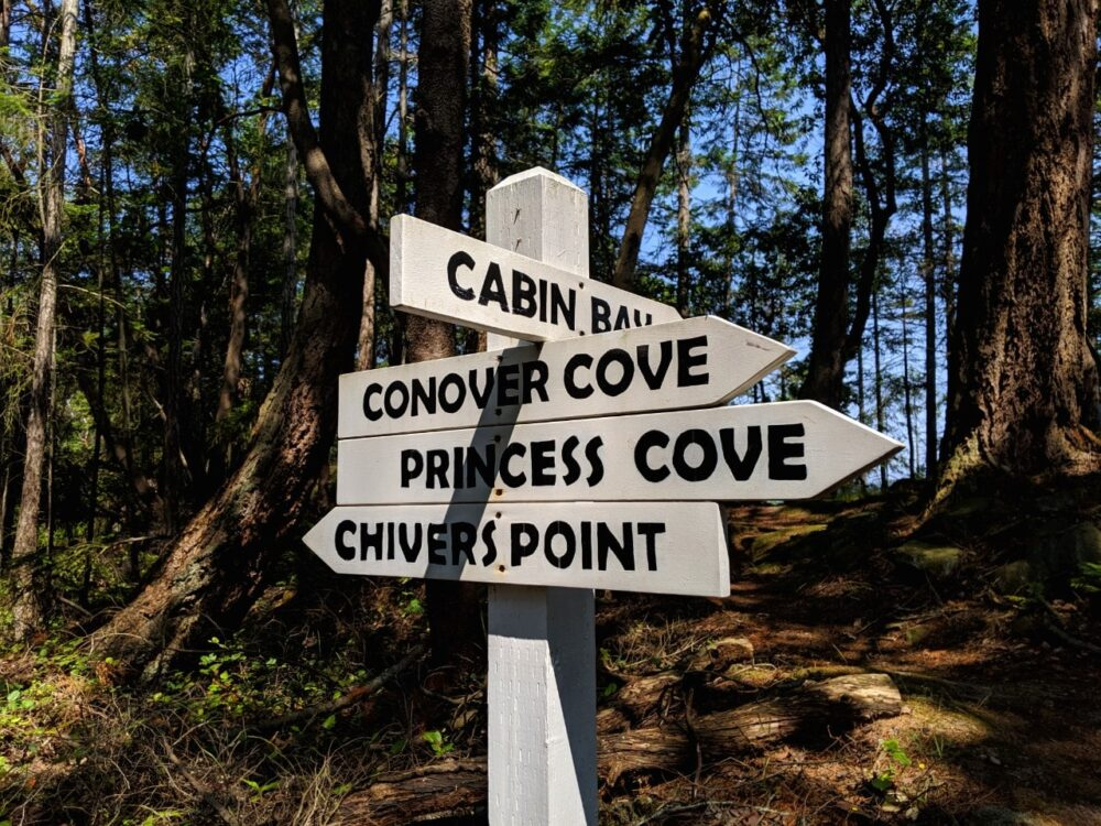 Wallace Island signs with Cabin Bay, Conover Cove, Princess Cove, Chivers Point all marked