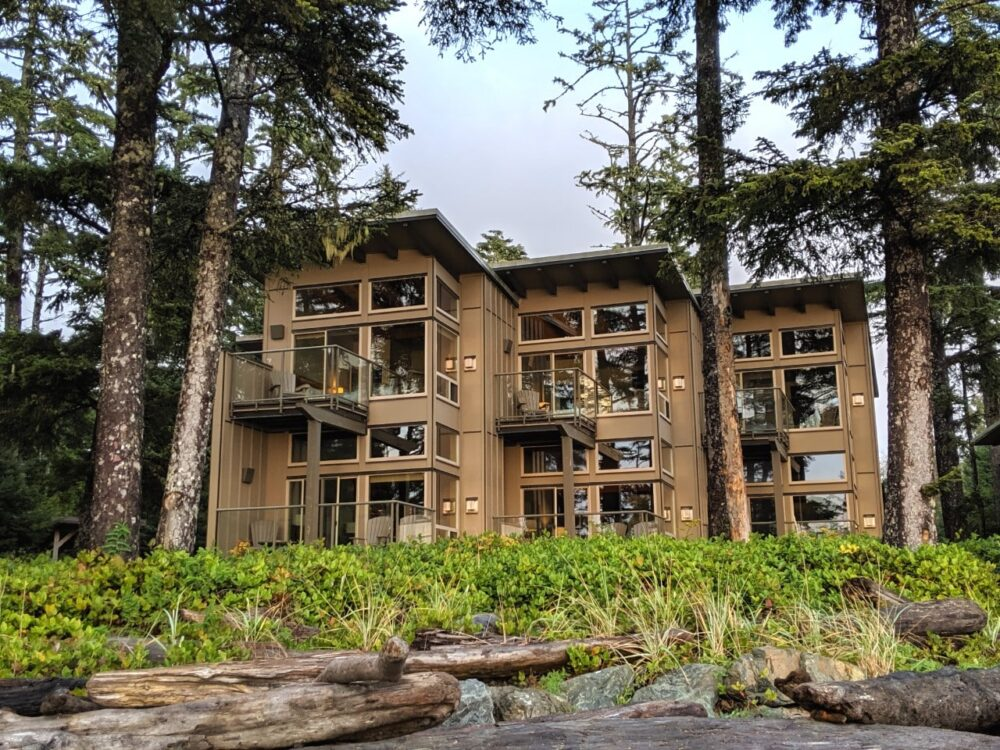 The three story beach houses, just behind the golden sands of Cox Bay, make Pacific Sands one of the best places to stay in Tofino