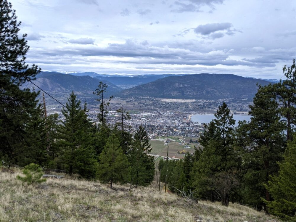Looking through trees to elevated views of the city of Penticton and Okanagan Lake