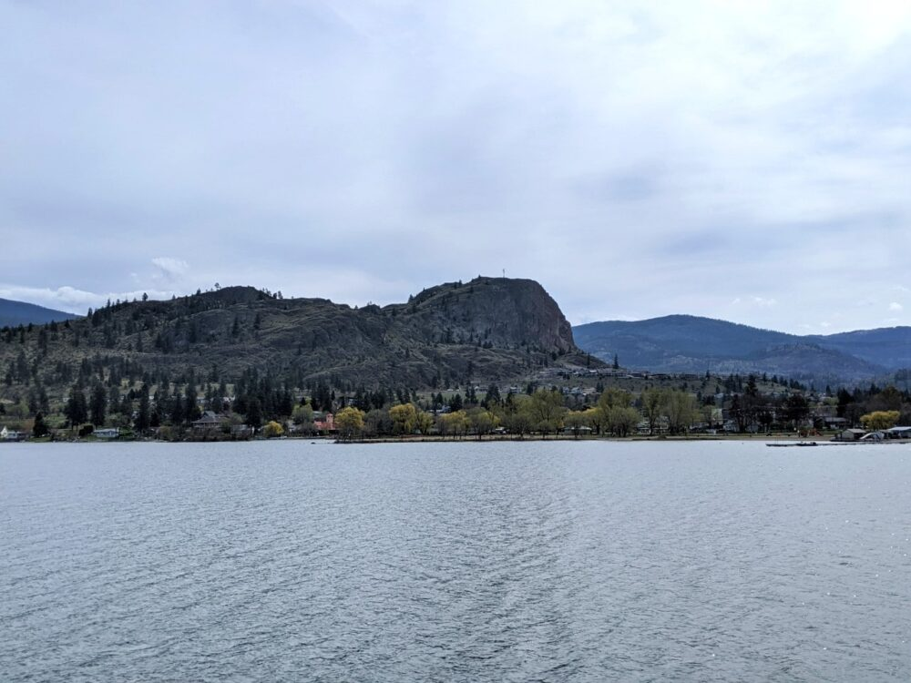 Unusual rock formation of Peach Cliff across Okanagan Lake as seen from the KVR Trail between Kaleden and Okanagan Falls
