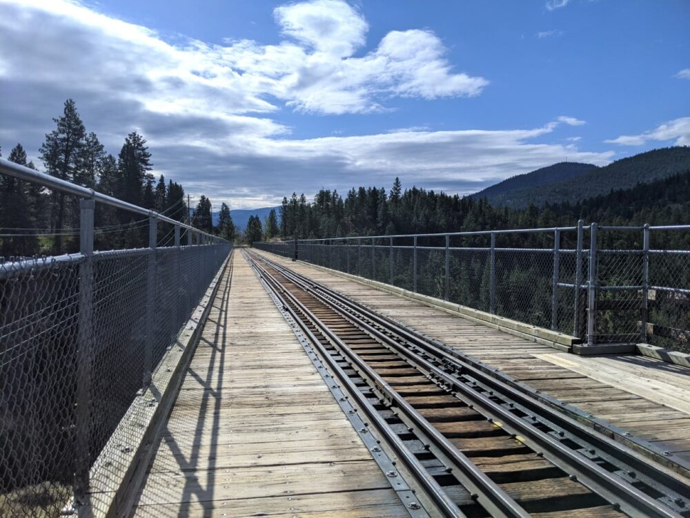Looking across the Trout Creek Trestle Bridge with railway line in middle