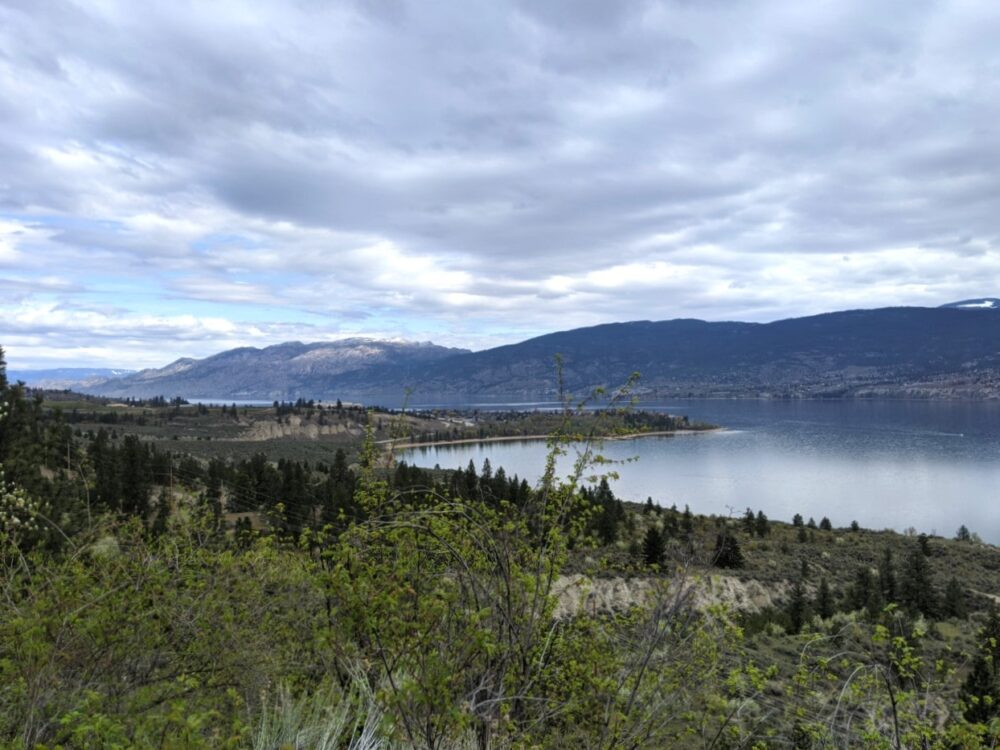 Elevated views looking back towards beach peninsula and Okanagan Lake on Trout Creek Trestle hike