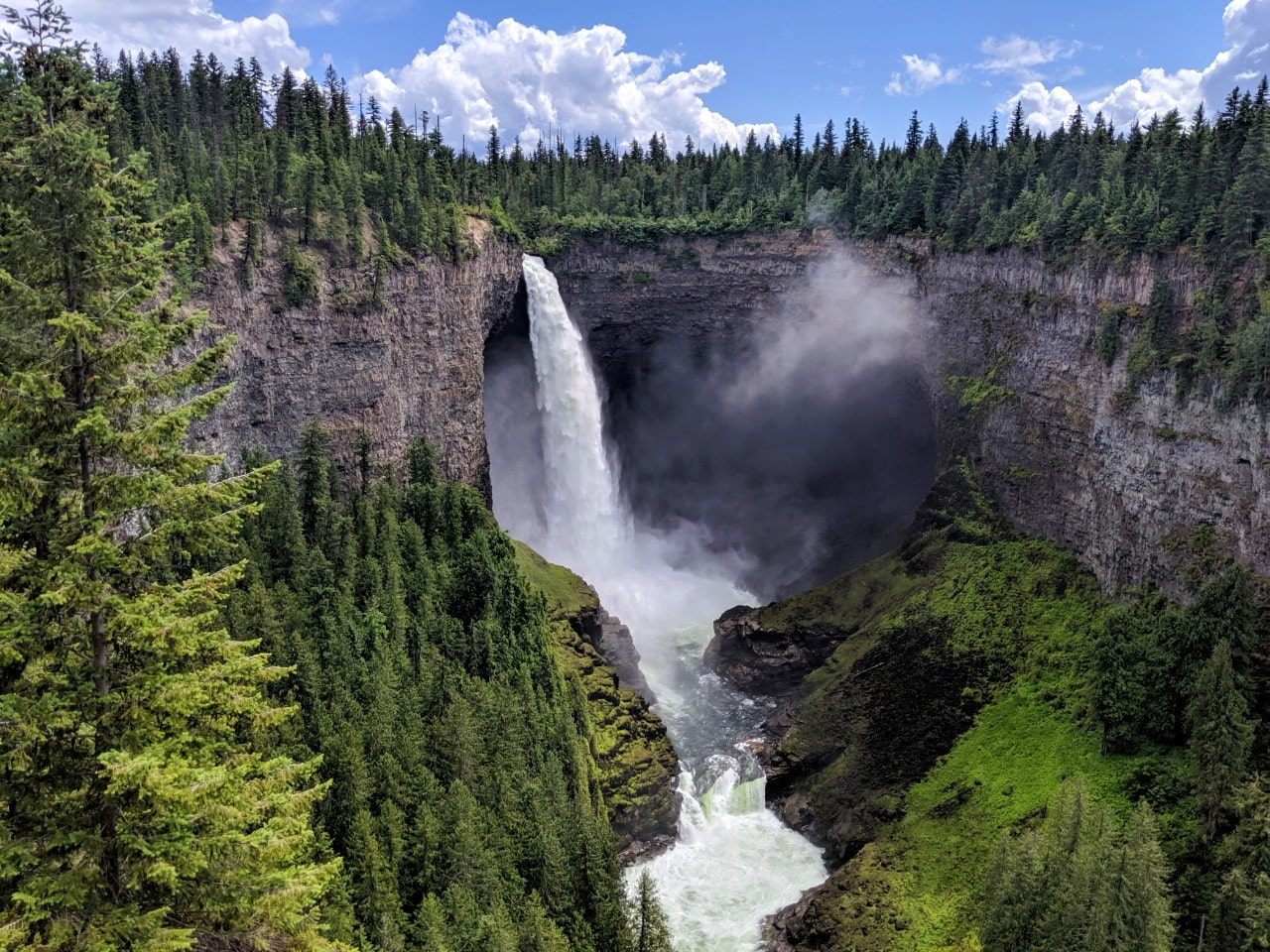 141m Helmckcen Falls plunging into a canyon in Wells Gray Provincial Park
