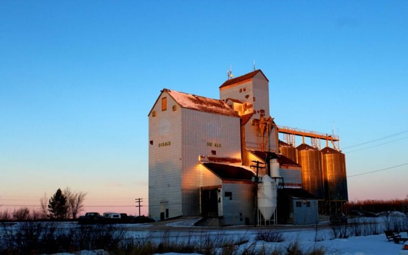 Manitoba grain elevators in winter