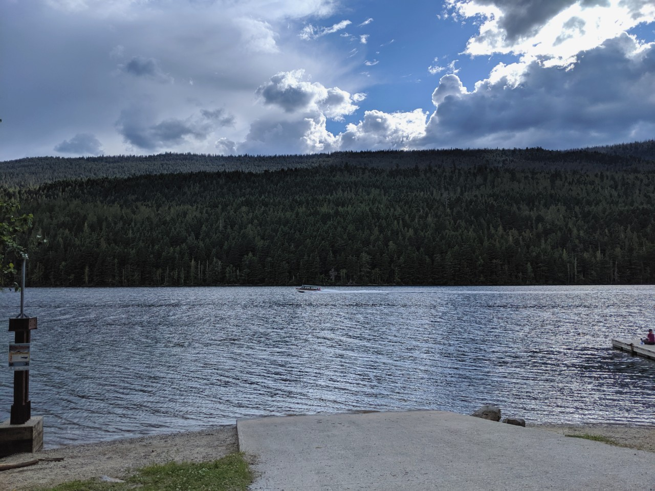 Concrete boat launch leading to Clearwater Lake at the end of Wells Gray Corridor drive