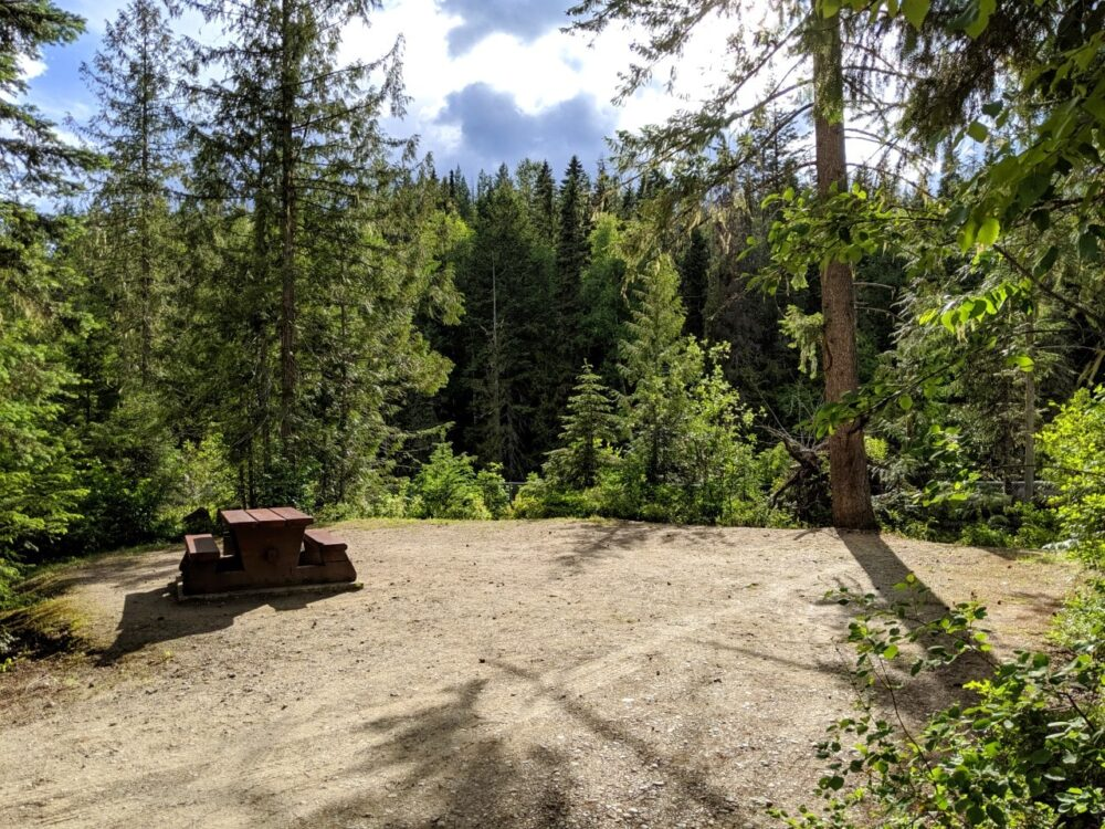 View of a provincial park campsite with picnic table on gravel circle surrounded by trees