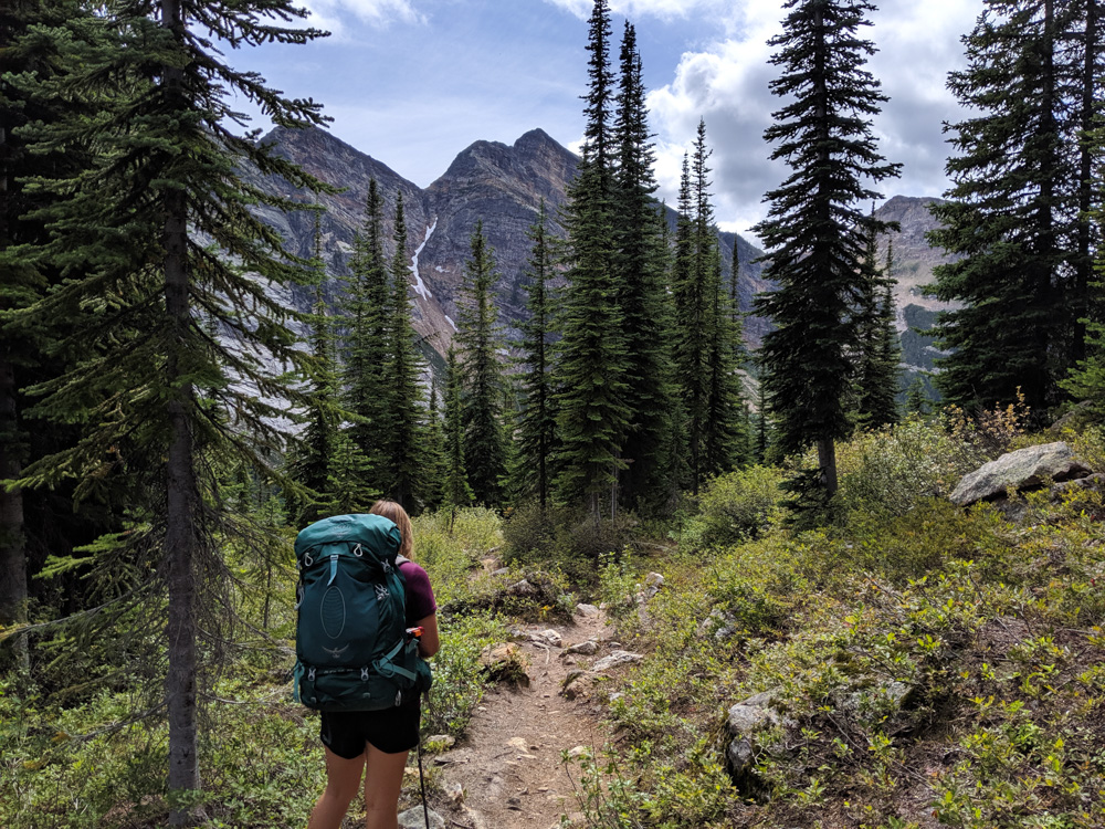 Back view of Gemma with large hiking backpack in alpine landscape in Valhalla Provincial Park