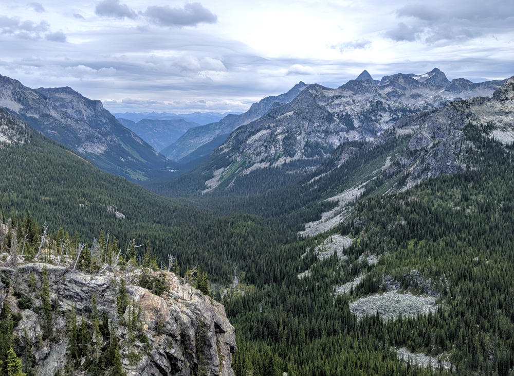 Looking over the ridge down the endless valleys of Valhalla Provincial Park