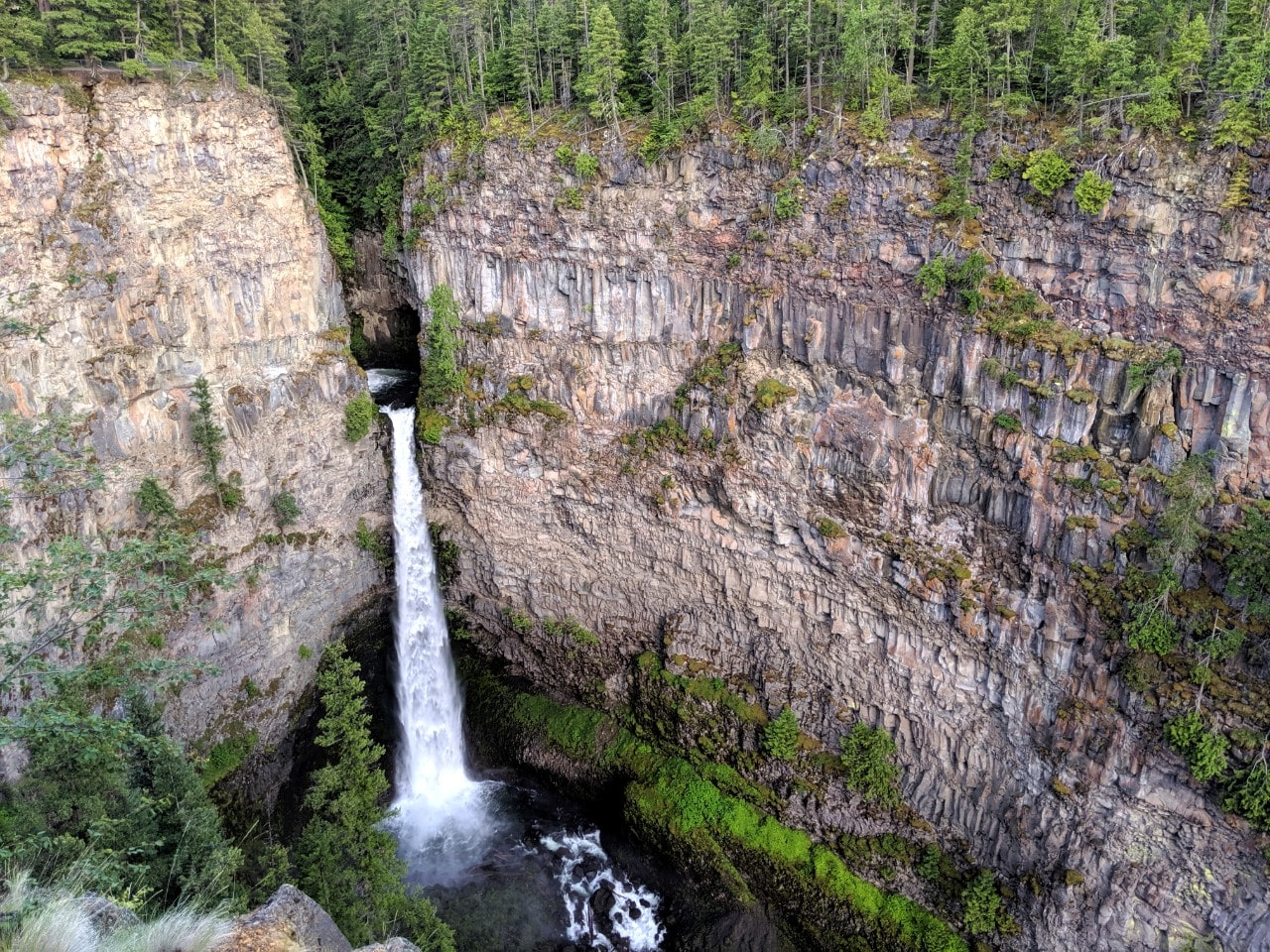 Rushing though a narrow rock gap, the dramatic Spahats Creek Falls pours 75m straight into a yawning ravine