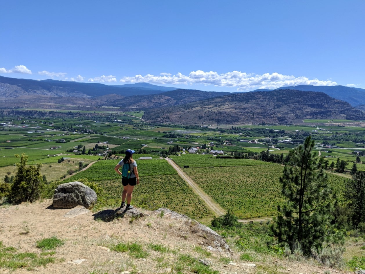Gemma standing on elevated rock platform above vineyards near Osoyoos, BC