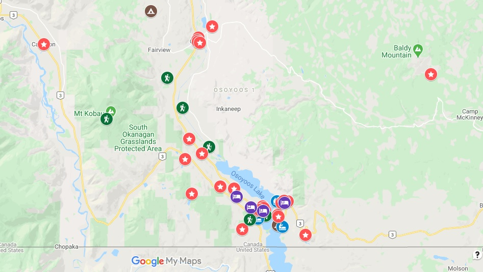 Google map screenshot with things to do in Osoyoos marked