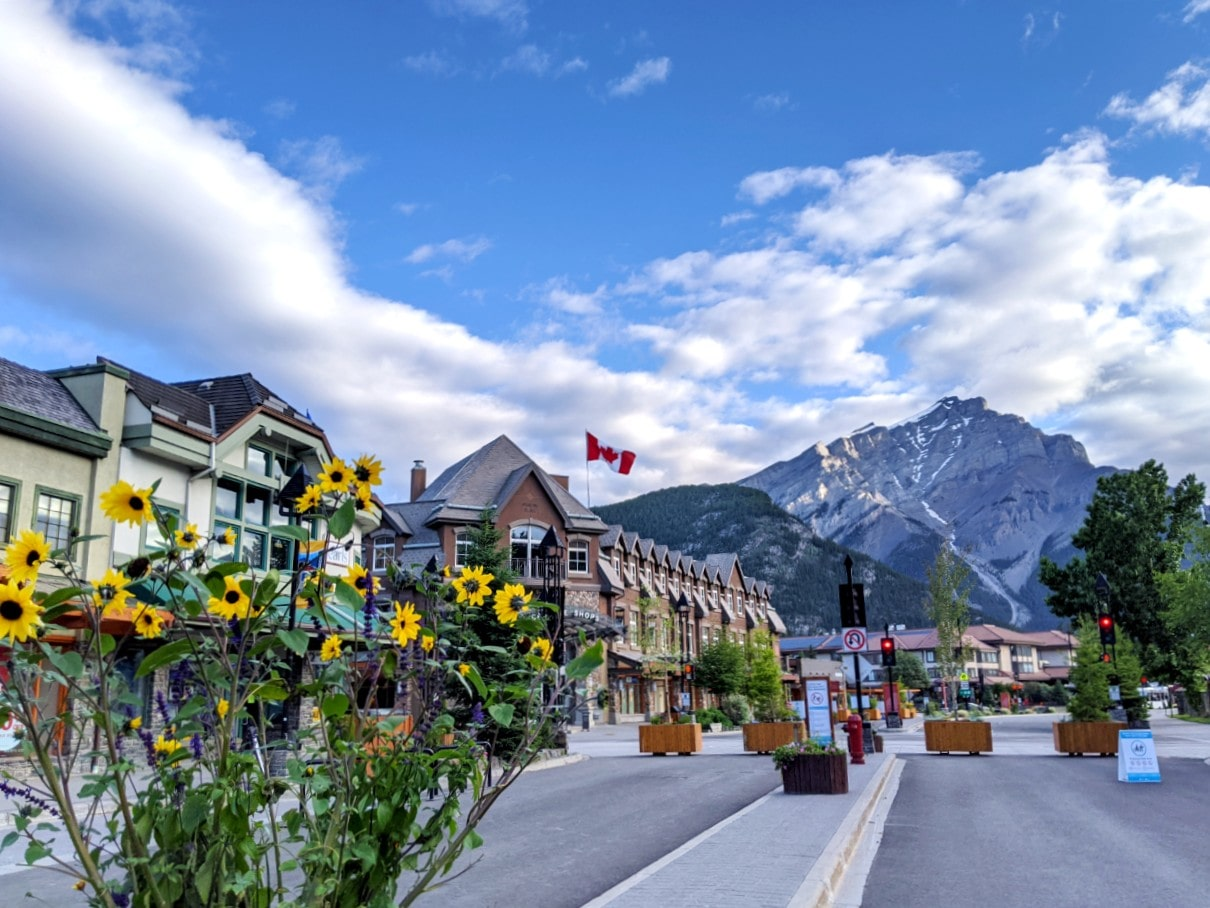 Street view of Banff Avenue with sunflowers in foreground and buildings, Canada Flag and Cascade Mountains behind