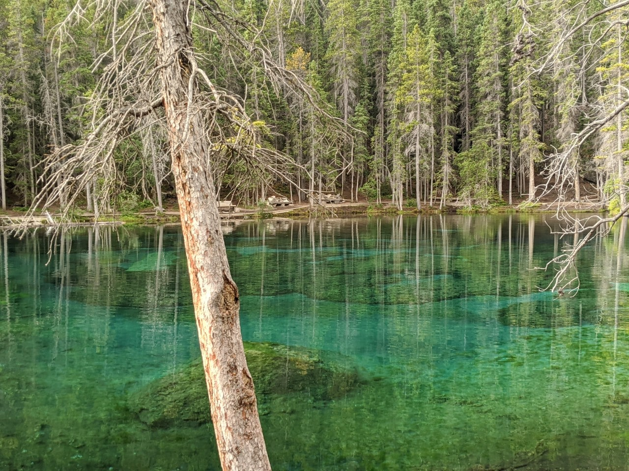 Turquoise clear waters of Grassi Lakes, Canmore
