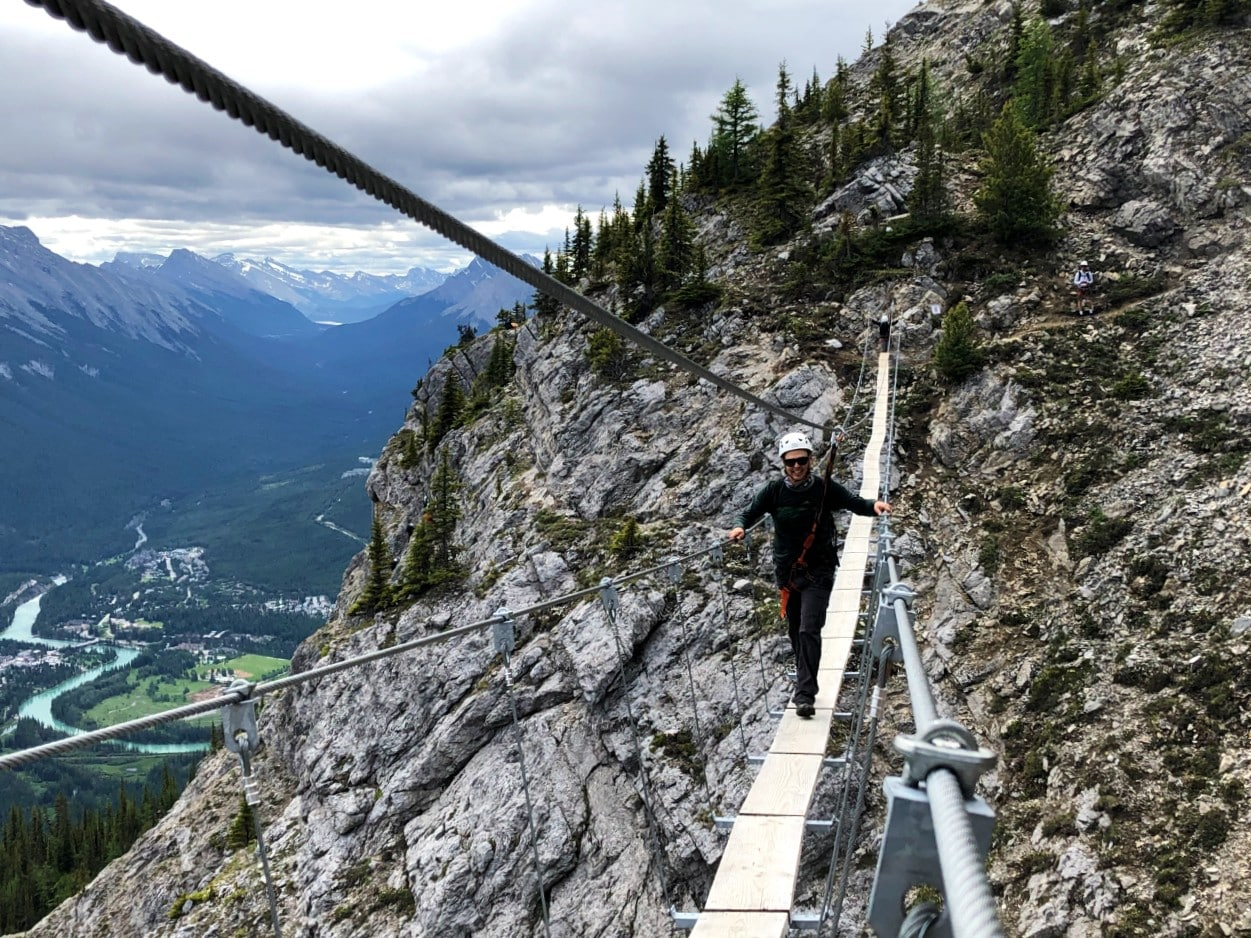JR crossing the 55m long suspension bridge on the Skyline route