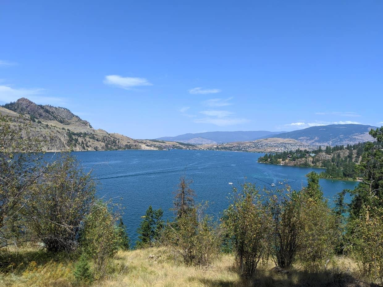 Lake and city views from Rattlesnake Point in Kalamalka Lake in Vernon