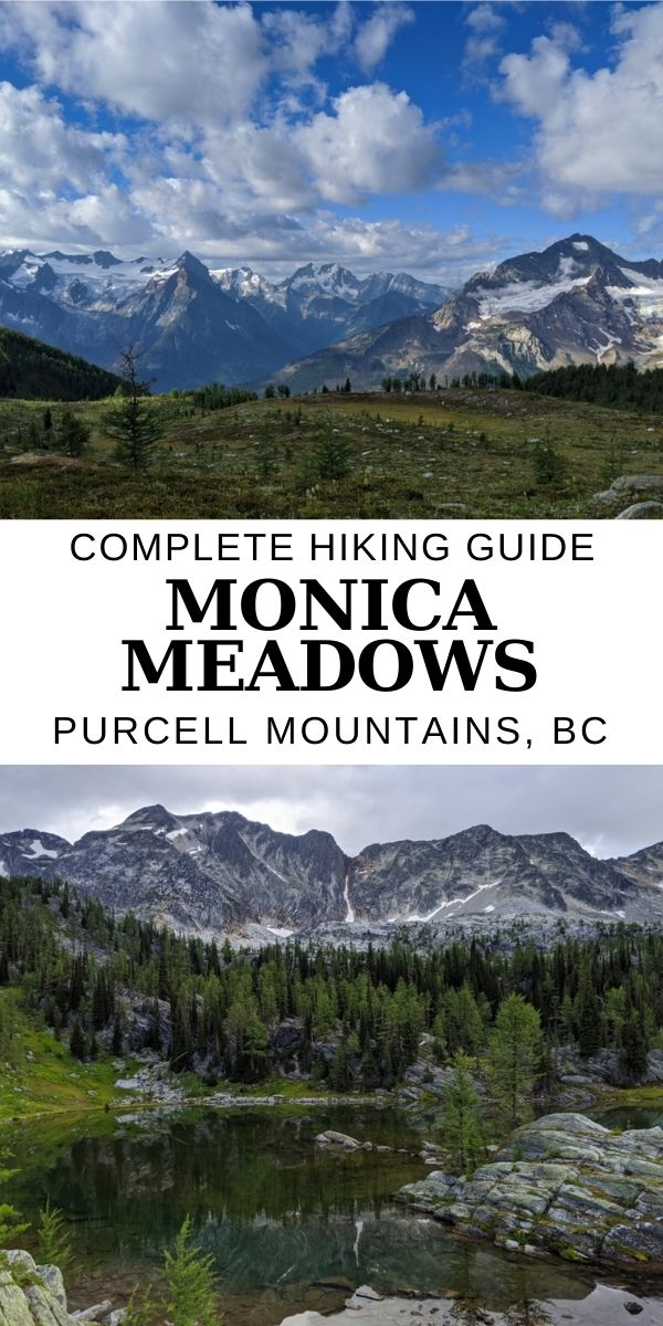 Located in BC's Purcell Mountain range, Monica Meadows is a majestic alpine wonderland with beautiful wildflowers, delicate larch trees, crystal clear lakes and endless vistas of immense glaciers and jagged peaks. Click here to find out everything you need to know to hike this spectacular place! offtracktravel.ca