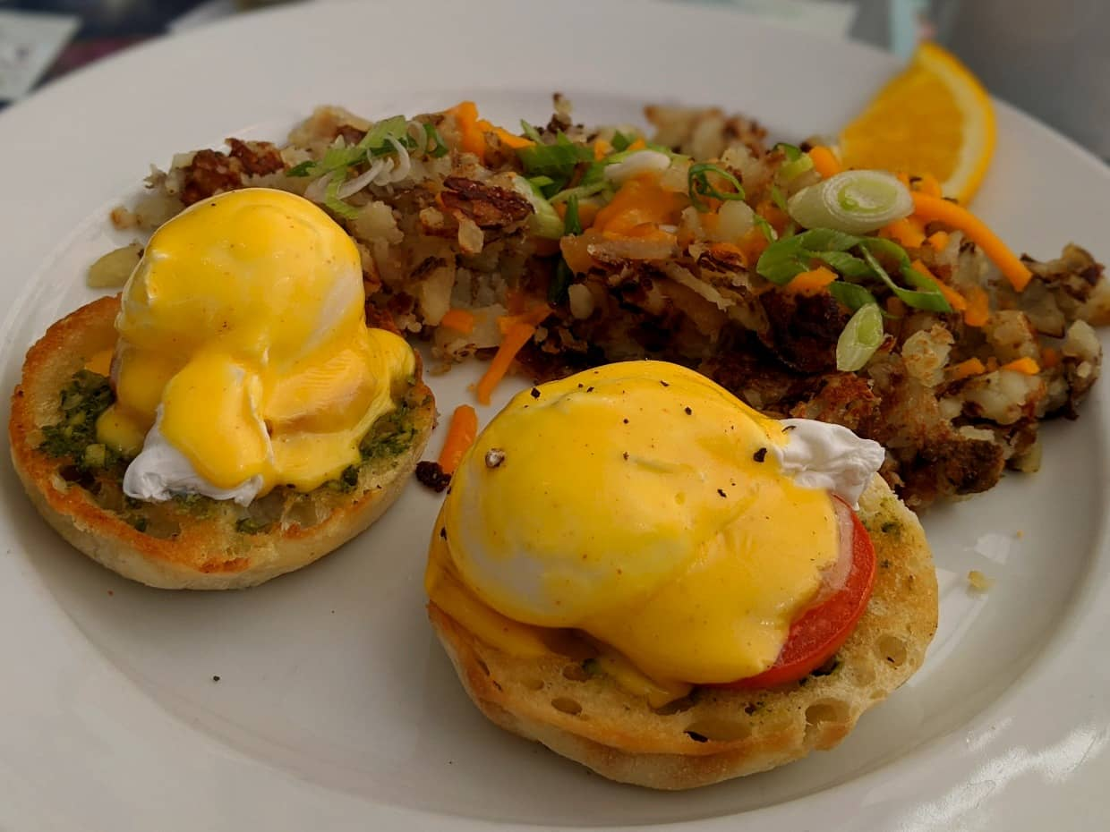 Close up of Eggs Benedict meal at Eatology in Vernon