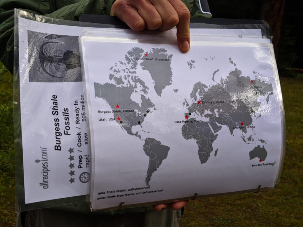 Ardele demonstrating the location of other Burgess Shale-like fossil sites with laminated world map