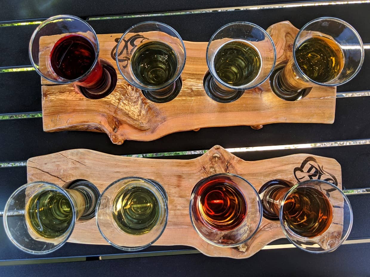 Birds eye view of BX Press cider flights with eight different variations