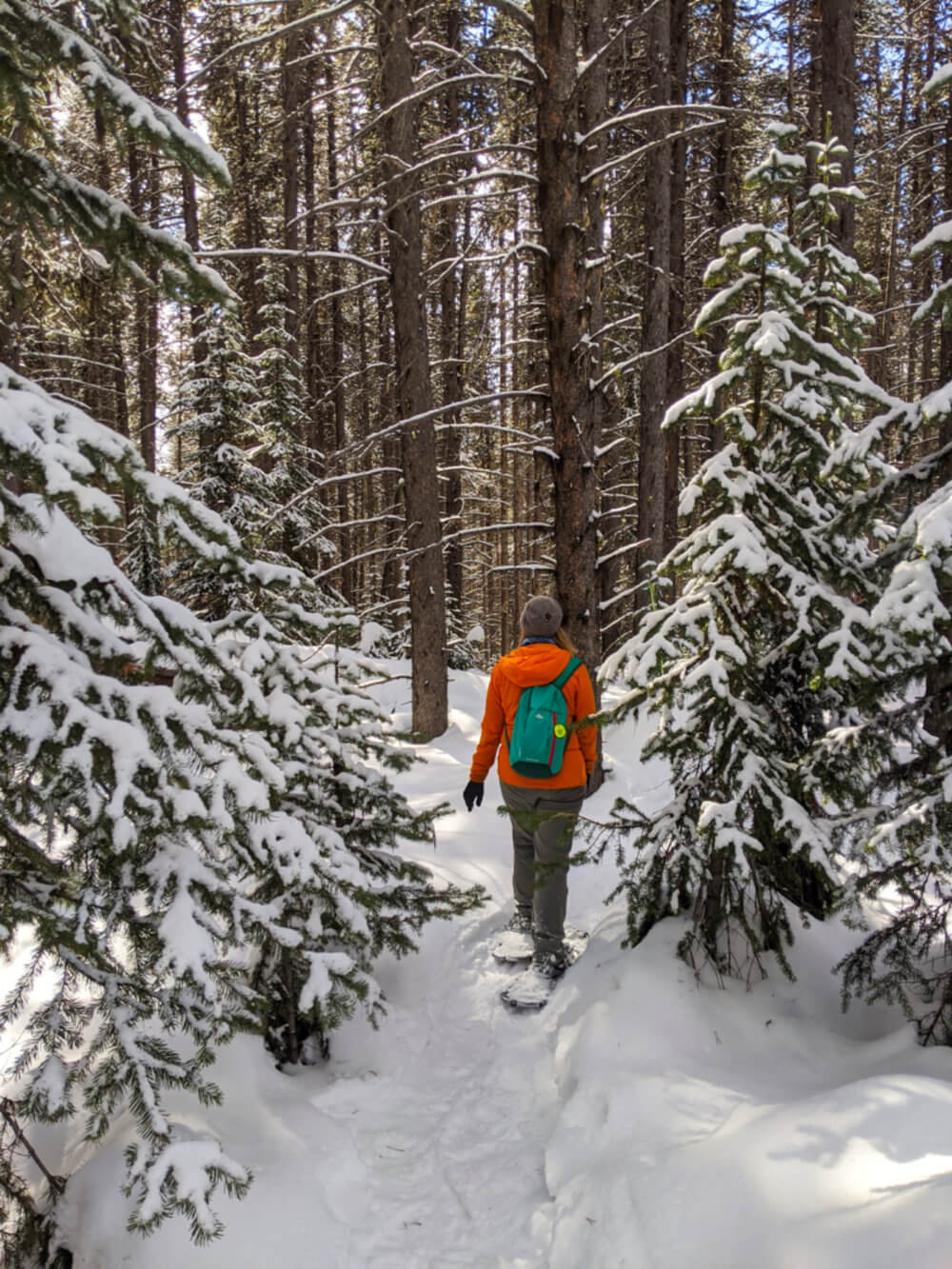 Gemma walking through snowy forest in orange jacket using snowshoes