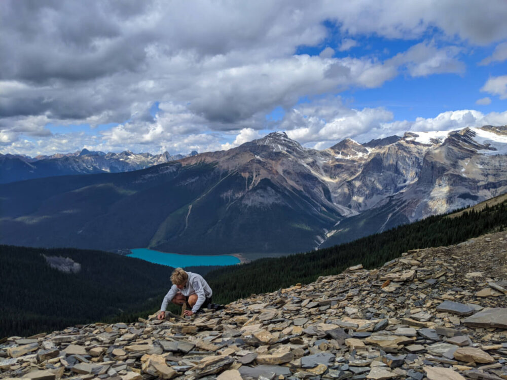 Leigh searches for Burgess Shale fossils at the Walcott Quarry, with a backdrop of mountains, a glacial lake and a glacier